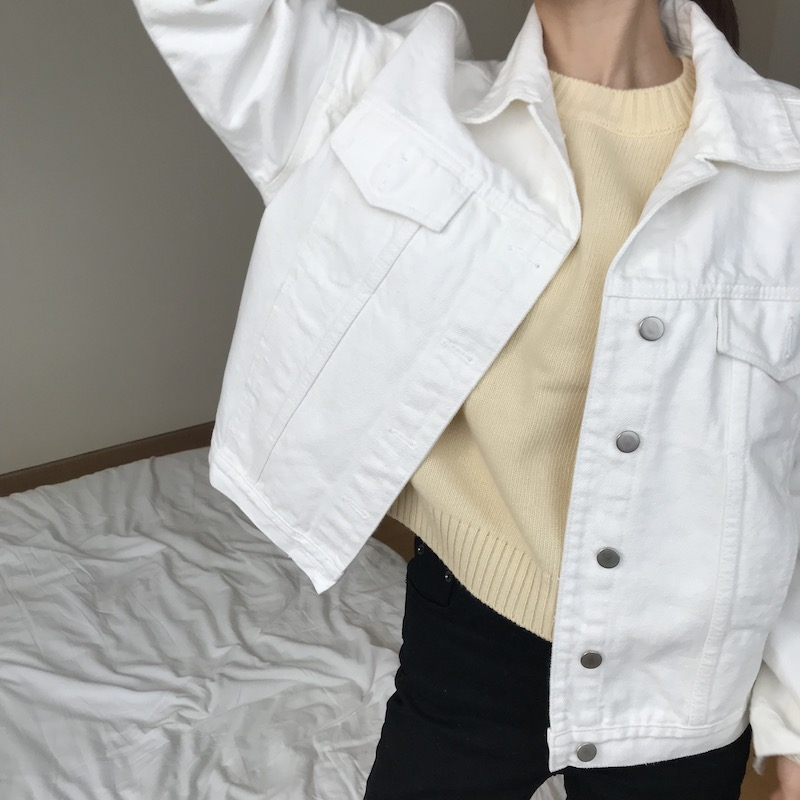 Basic cotton jacket in white