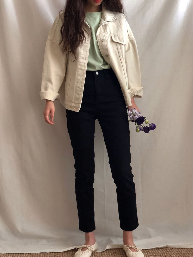 Basic cotton jacket in cream