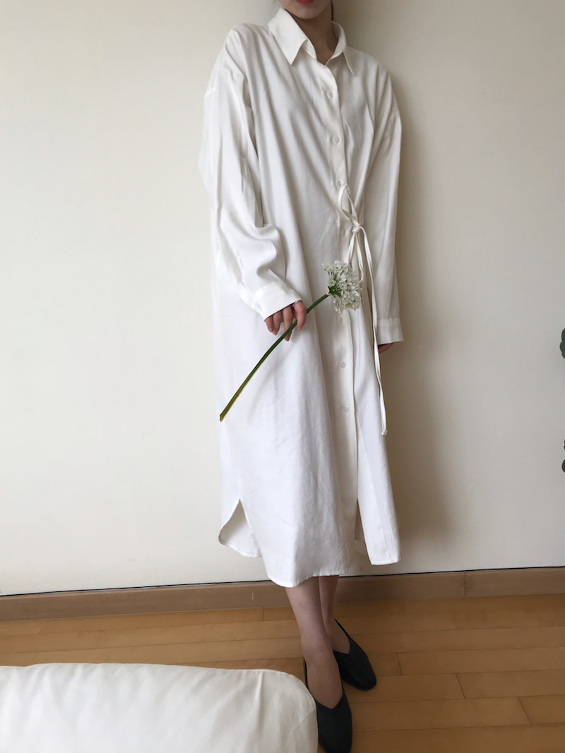 Classic long shirt dress in ivory