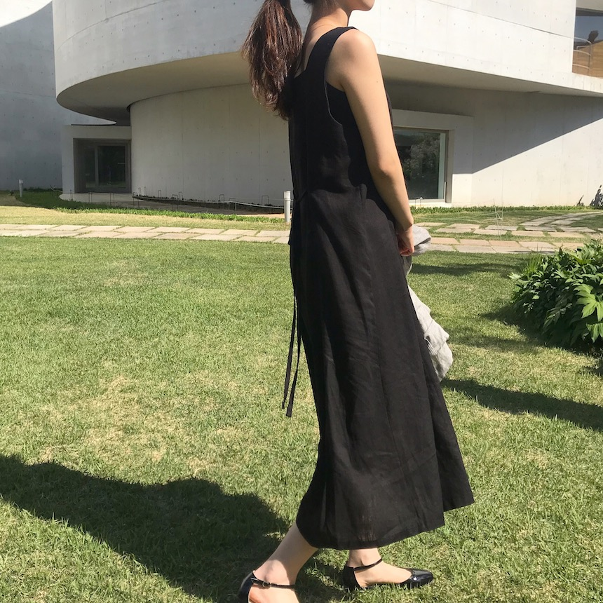 Natural sleeveless long dress